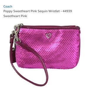Pink Sequins Coach Wristlet
